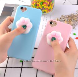 Силиконовый Розовый и голубой чехол для айфон 5 5s 6 6s анти стресс