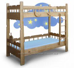 Двухъярусная кровать из массива дерева ясеня Врунгель