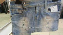 Классная джинсовая юбка с потертостями
