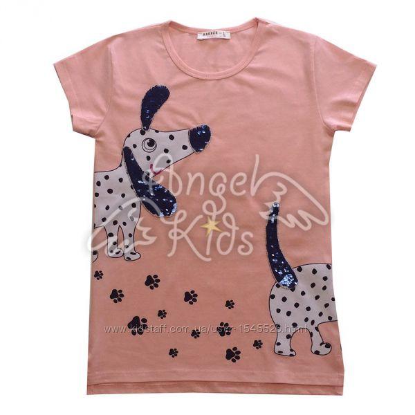 Туники и футболки с пайетками для девочек 128-164 рост Турция Breeze