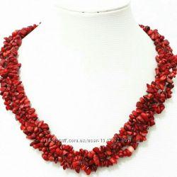 Коралловое ожерелье, бусы, колье, натуральный коралл, красный, подарок