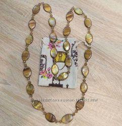 Ожерелье, бусы из натурального перламутра с чешским хрусталем, натур. камен
