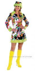 Рэтро Хиппи платье 60х яркое карнавальное XS
