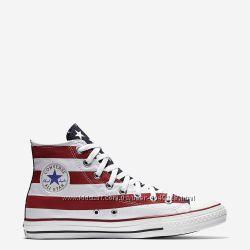 Кеды Converse All Star Оригинал Белые с Красным Конверсы