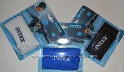 Детская, подростковая шапочка для плавания Intex-черная, белая, синяя.