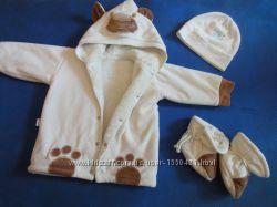 куртка меховушка от 0 до 6 месяцев пинетки