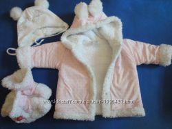 куртка меховушка от 3 до 12 месяцев пинетки