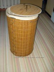 Корзина складная для белья из бамбука 35х60см
