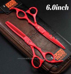 Ножницы парикмахерские 6. 0 Kasho красные