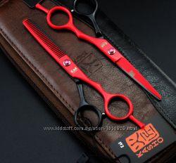 Ножницы парикмахерсике 5. 5 Kasho красные-чёрные