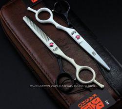 Ножницы 5. 5 парикмахерские  Kasho белые-чёрные