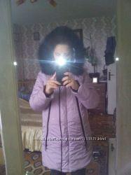 Зимняя куртка для беременных Beauty Mama жемчужно-фиолетовая