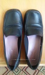 44 р. 29-29, 5 см Туфли женские кожаные черные на низкой подошве. Англия