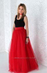 Фатиновая юбка в пол макси 4 слоя фатина