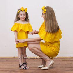 Комплект мама  дочка комплект фемели лук платья с воланами платье волан