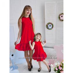 Платье с рюшей летние комплекты фемели лук комплект мама  дочка