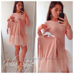 Комплект фемели лук с фатиновыми юбками платья мамадочка платье с фатином