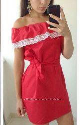 Платье с воланом комплект фемели лук мама  дочка