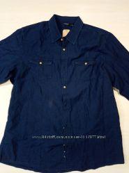 Мужская синяя рубашка размер XL 9-34