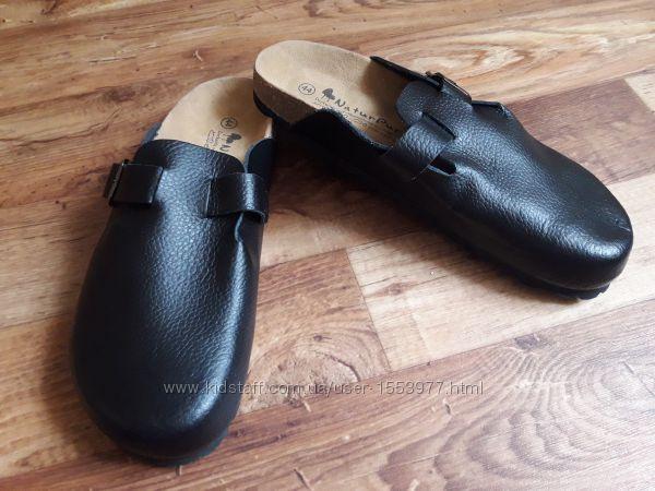 Черные кожаные сабо с анатомической стелькой размер 44,  18-25 Ю