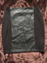 Женская юбка со вставкой из кожзама S 15-2 M1