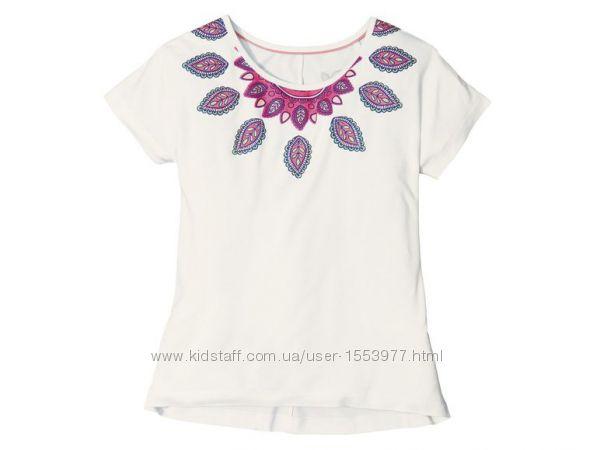 Белая футболка для девочки с ярким принтом размер 134 140 22-22 M1