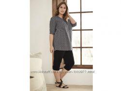 Черно-белая блуза-туника свободного кроя размер евро 50, 23-77 Ю