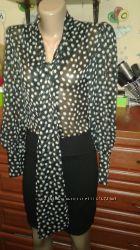 Ax paris эффектное платье с шифоновым верхом блузой в горох 103844