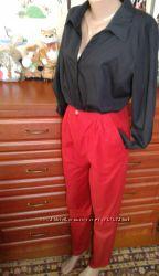 Красные летние брюки-бананы с высокой посадкой 42-44р высокой девушке