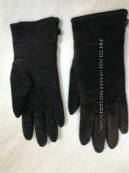 Женские зимние замшевые перчатки   натуральная цигейка размер S