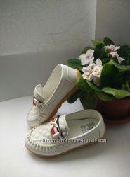 Белые туфли, мокасины со стелькой 17, 3 см