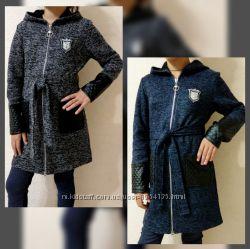 Кардиган-пальто на девочек от производителя. Р. 128-164