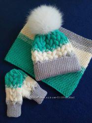 Зимний комплект шапка и шарф, детский