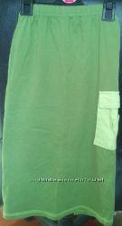 Юбка зеленая  хлопок-трикотаж для девочки 7-8 лет