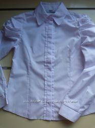 Блузка белая на девочку на рост 116-152см с длинным рукавом в школу