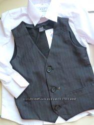 Рубашка белая, жилет черный в полоску на мальчика в школу128. 134. 140. 146