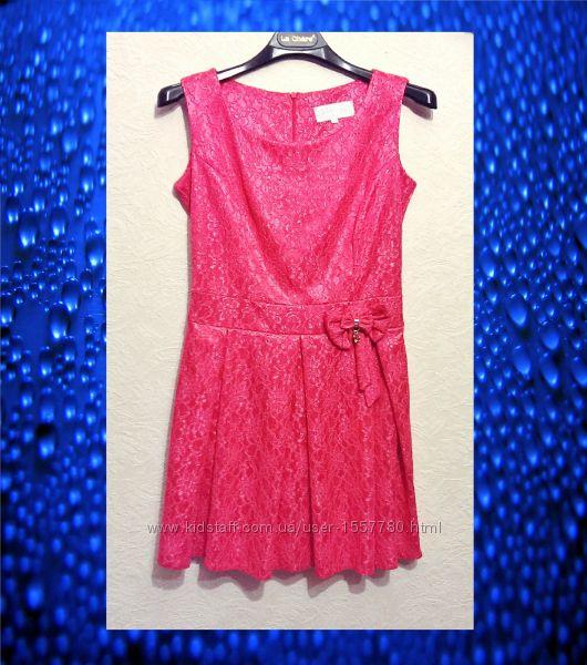 Платье мини розовое коралловое ткань стрейч кружевная выделка р46 Италия