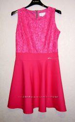 Платье розовое коралловое женское верх кружевной низ трикотин 44-46