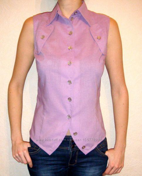 Майка блузка кофточка рубашка без рукавов розовая сиреневая поплин р44 46