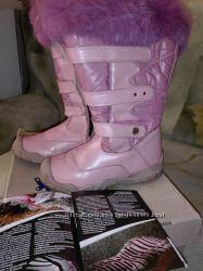 зимние кожаные натур. мех розовые сапоги