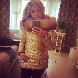 Парка d&g с натуральным мехом золото, курточка зимняя