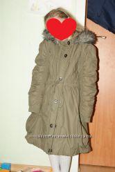 Фирменное пальто-парка на девочку 8-10 лет