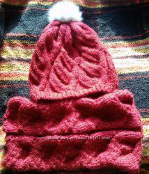 вяжу на заказ и готовые вязанные комплекты из шапочки и снуда