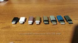 Переходник с micro USB на lightning, type-C. Адаптер. Металлпластик.