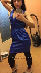 Плаття атласне сине