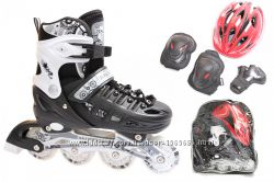 Ролики Раздвижные Scale Sports Черные с белым c набором защиты