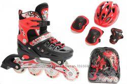 Ролики Раздвижные Scale Sports Красные c набором защиты