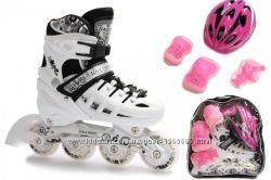 Ролики Раздвижные Scale Sports Белые c набором защиты