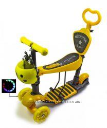 Детский трехколесный самокат Scooter Божья коровка 5 в 1 с сиденьем Желтый