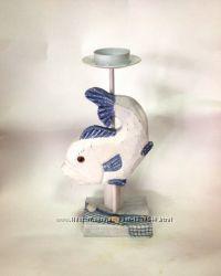 Подсвечник в морском стиле Раковины, Рыбы, Морские звезды
